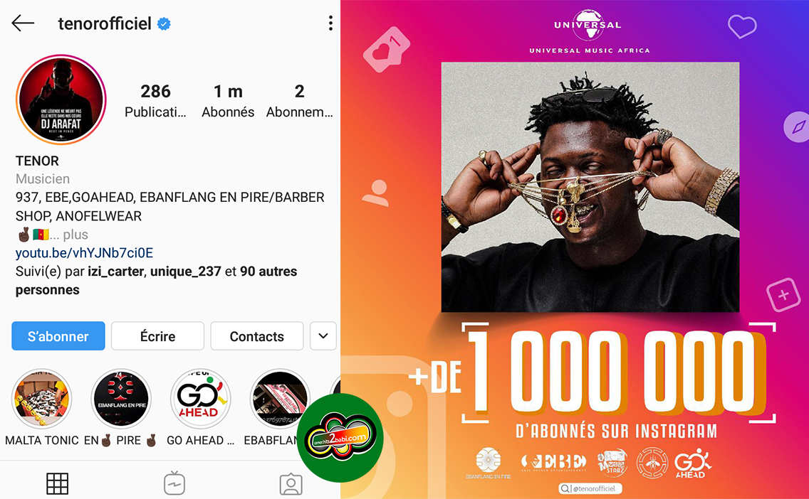 [PEOPLE] : TENOR franchir la barre du million de followers sur instagram.